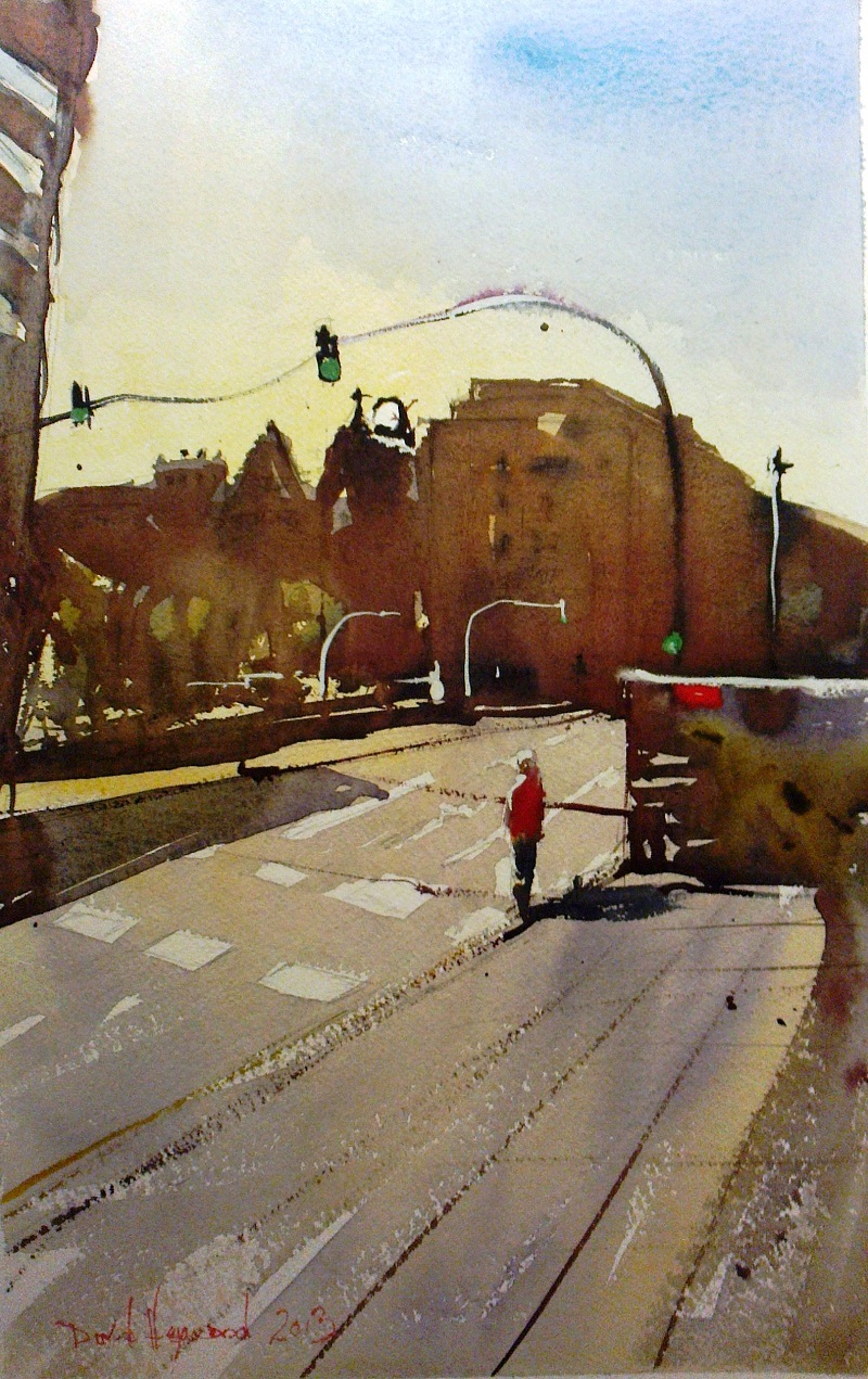 David Heywood Alone in Barcelona Original Watercolour